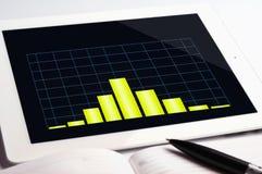 PC da tabuleta e gráfico amarelo fotografia de stock royalty free
