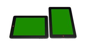 PC da tabuleta e tela verde ilustração royalty free