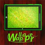PC da tabuleta, fundo verde dos triângulos Imagem de Stock Royalty Free
