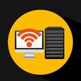 Pc data base wifi arrow Stock Photography
