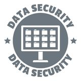 Pc data security logo, simple style Stock Image