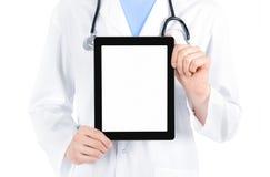 PC de docteur Showing Blank Digital Tablet Photographie stock libre de droits