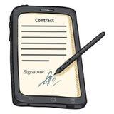 PC de Gray Tablet de bande dessinée de vecteur avec le stylet et contrat de Signatured sur l'affichage Photographie stock