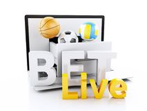 PC de l'ordinateur portable 3d avec des boules de sport Pari du concept Photos stock