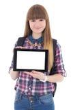 PC de la tableta de la tenencia del adolescente con el copyspace aislado en blanco Fotografía de archivo
