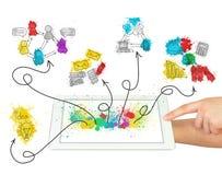 PC de la tableta del control de las manos con bosquejos del negocio libre illustration