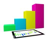 PC de la tablilla con el diagrama del gráfico de asunto Imágenes de archivo libres de regalías