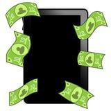 PC de la tablilla con el dinero Imagen de archivo libre de regalías
