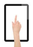 PC de la tablilla con la mano Imagen de archivo libre de regalías