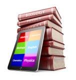 PC de la tablilla con los libros. Concepto de la educación. icono 3D Imagenes de archivo