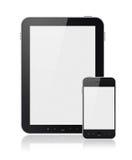 PC de la tablilla de Digitaces con el teléfono elegante móvil aislado Foto de archivo libre de regalías