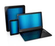 PC de la tablilla, teléfono móvil y computadora portátil Fotos de archivo libres de regalías
