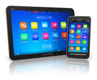 PC de la tablilla y smartphone de la pantalla táctil