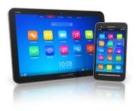 PC de la tablilla y smartphone de la pantalla táctil Imagen de archivo libre de regalías