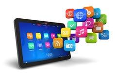 PC de tablette avec le nuage des graphismes d'application Photographie stock libre de droits