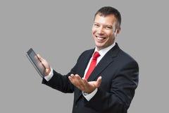 PC de tablette d'homme d'affaires images stock
