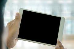 PC de Tablette d'utilisation de fonctionnement d'équipe d'affaires de vue de plan rapproché utilisant numérique Photos libres de droits