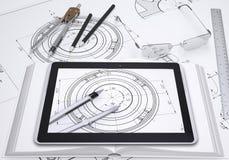 PC de Tablette, les instruments d'un certain rapporteur et Image libre de droits