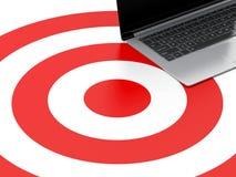 pc del computer portatile 3d sull'obiettivo Concetto strategico di affari Fotografie Stock Libere da Diritti