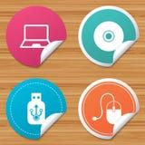PC del cuaderno e iconos del palillo de memoria USB Fotografía de archivo