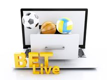 PC del ordenador portátil 3d con las bolas y los microprocesadores del deporte stock de ilustración