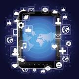 Pc del ridurre in pani con le icone sociali luminose di media Immagini Stock Libere da Diritti