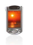 PC della casella con il telefono mobile Fotografia Stock Libera da Diritti