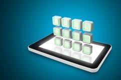 Pc della compressa con la nuvola delle icone dell'applicazione variopinte Fotografia Stock Libera da Diritti