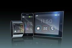 Pc della compressa di Smartphone ed orologio futuristico