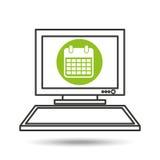 Pc device network calendar media icon Stock Photography