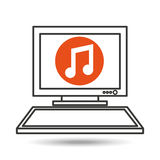 Pc device network music media icon Royalty Free Stock Photo