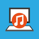 Pc device network music media icon Royalty Free Stock Image