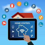 PC digitale moderno della compressa con la casa intelligente Apps illustrazione di stock