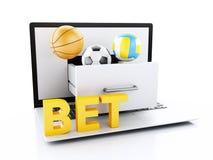 PC do portátil 3d com bolas e microplaquetas do esporte ilustração stock