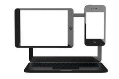 PC do portátil, do telefone celular e da tabuleta rendição 3d Fotografia de Stock