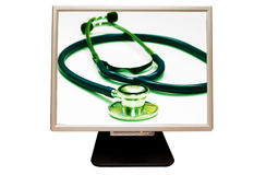 PC doctor. Computer monitor with stethoscope into area of screen stock image