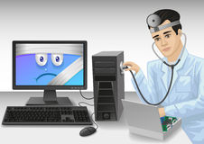 PC doctor. Computer expert diagnoses the problem and repair the computer Stock Photo