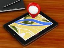 PC du comprimé 3d avec la carte de navigateur et marqueur d'indicateur sur la ville Photos libres de droits