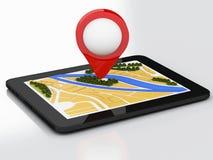 PC du comprimé 3d avec la carte de navigateur et marqueur d'indicateur sur la ville Photographie stock