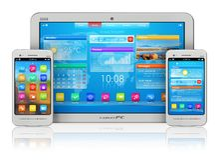 PC e smartphones da tabuleta Fotografia de Stock