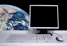 PC with earth Royalty Free Stock Image