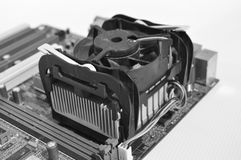 PC electronic card, heat sink and cooling fan Stock Image