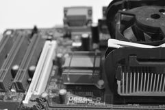PC electronic card, heat sink and cooling fan Royalty Free Stock Image