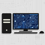 Pc and electronic circuit vector illustration