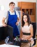 PC engineer providing internet access Stock Photo
