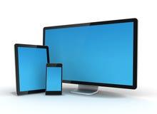 PC för datorbildskärmminnestavla och illustration för mobiltelefon 3d Royaltyfri Bild