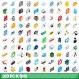 100 PC-geplaatste pictogrammen, isometrische 3d stijl Stock Afbeelding