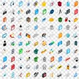 100 PC-geplaatste pictogrammen, isometrische 3d stijl Stock Fotografie
