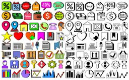 100 PC-Geplaatste Webpictogrammen royalty-vrije illustratie