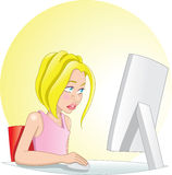 PC girl. A young girl surfing the internet on her pc vector illustration